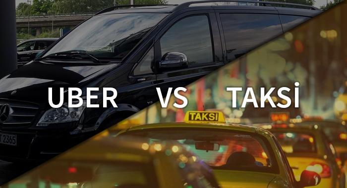"""Uber ve Taksi fotoğrafı içerek """"uber vs taksi"""" yazan bir resim."""